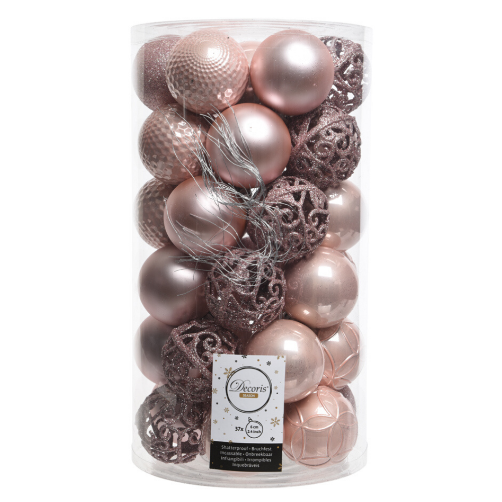 Shatter Proof Bauble Mix- Blush Pink