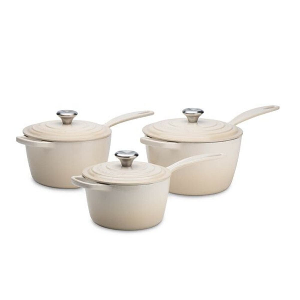 Signature Cast Iron 3 Piece Saucepan Set, Almond