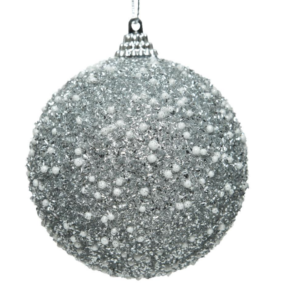 Silver Glitter Christmas Bauble