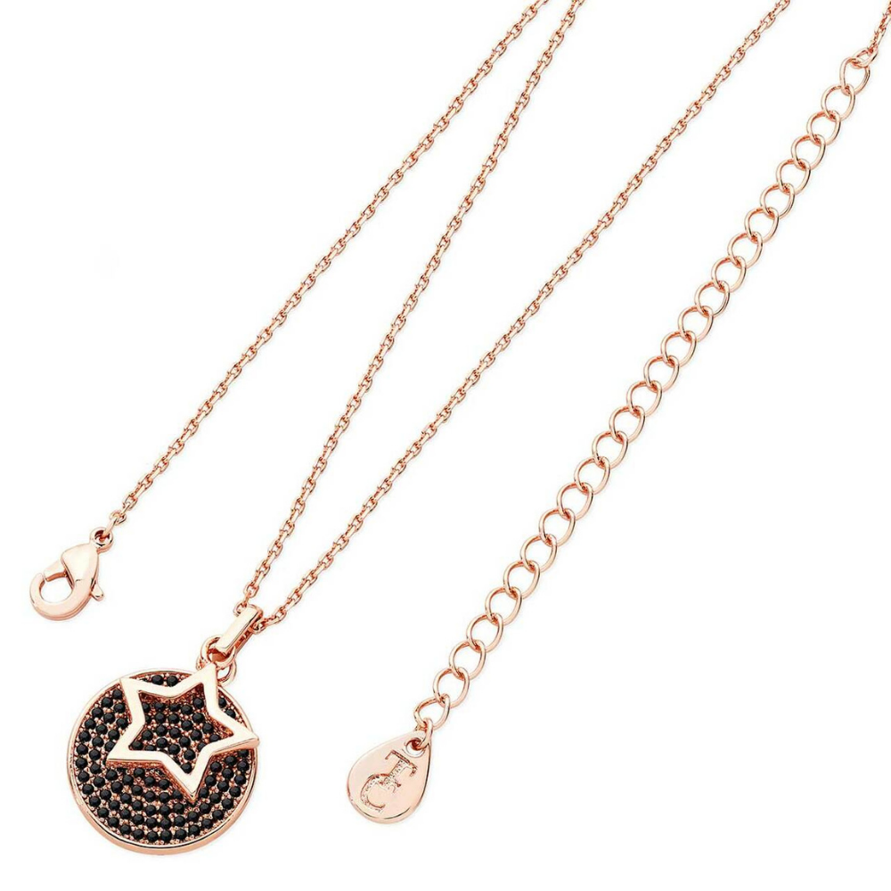 Star Floating Rose Gold Black Pave Disc Pendant