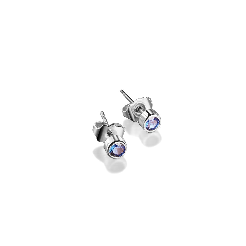 Stud Earrings with Blue Stone Settings