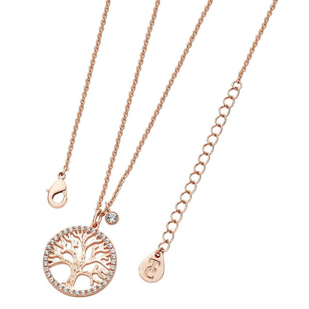 Tree Of Life Necklace & CZ Circumference Rose Gold
