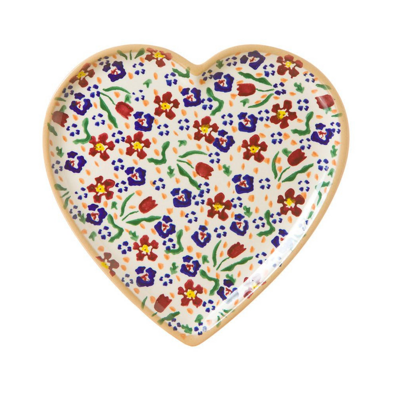 Medium Heart Plate Wild Flower Meadow