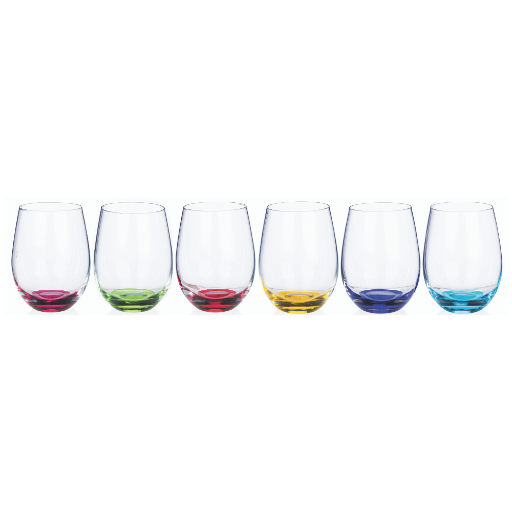 Rainbow Party Stemless Wine Glasses