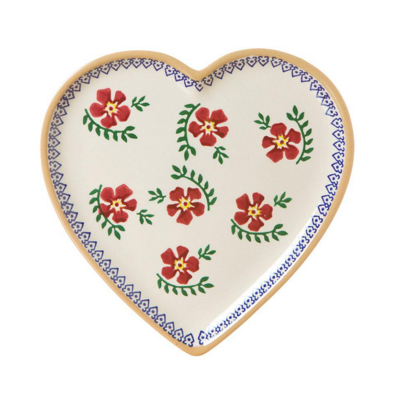 Medium Heart Plate Old Rose