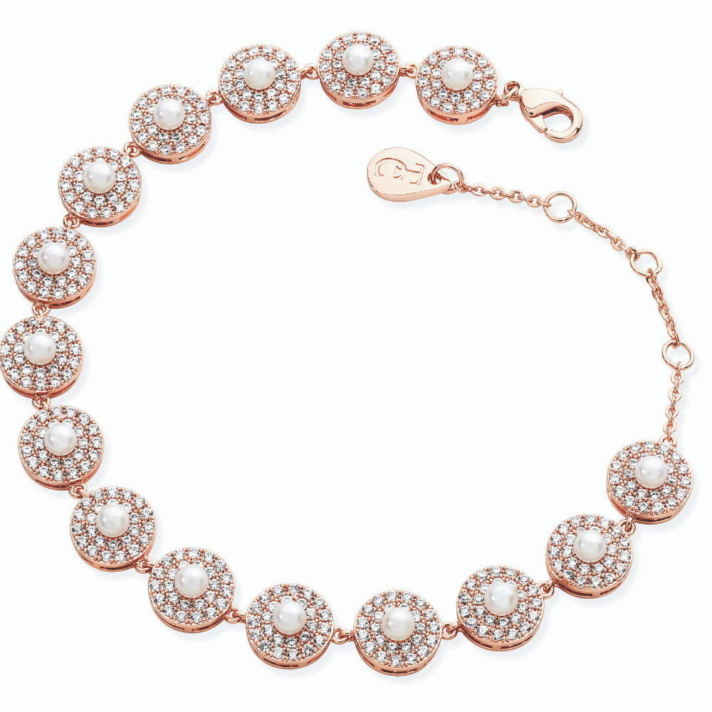 Rose Gold Thirteen Cz Circle Pearl Bracelet
