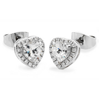 Diamante Heart Drop Earrings