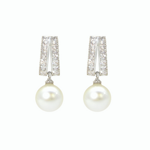 Pearl Earrings With Silver CZ