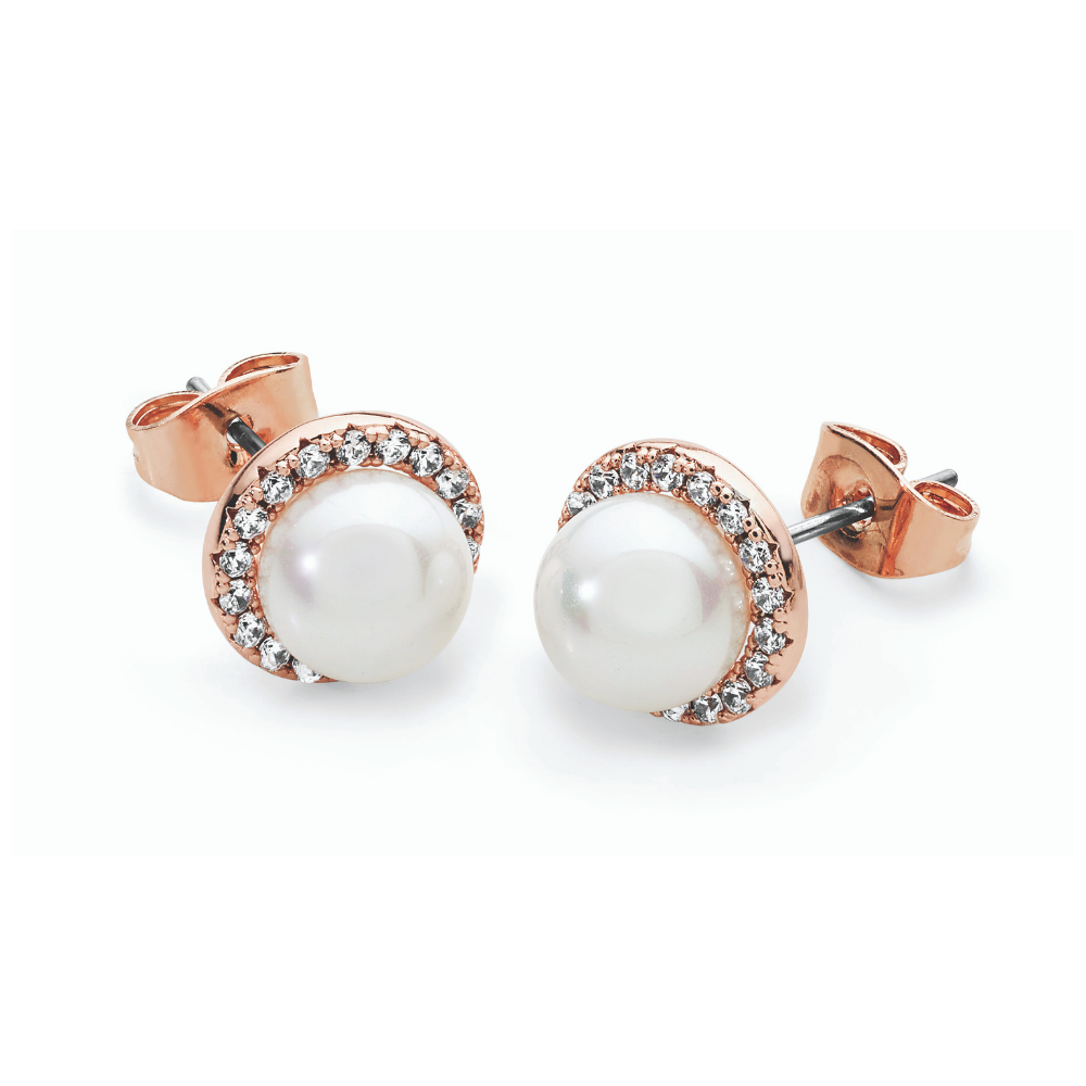 Rose Gold Cz Circle With Pearl Earrings