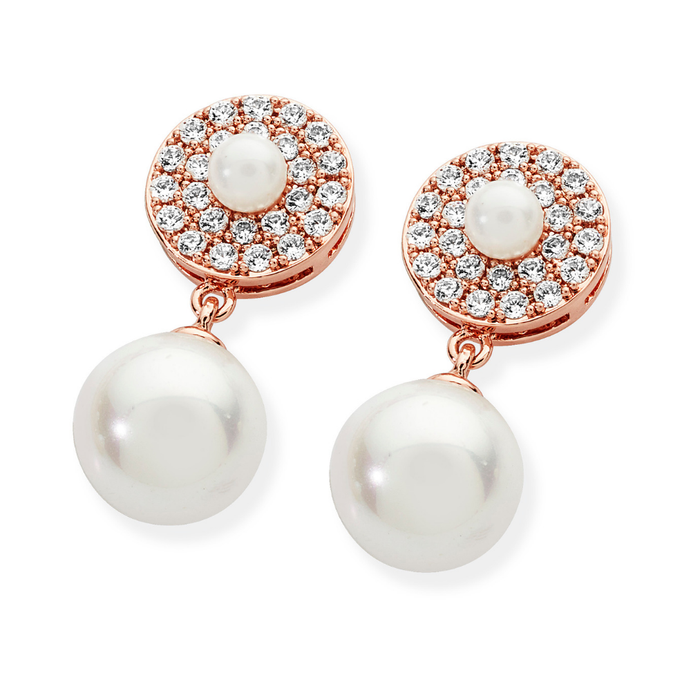 Rose Gold Pave Circle With Drop Pearl Earrings