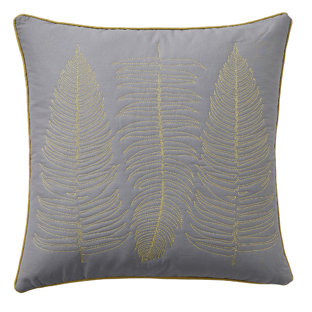 Ginkgo Patchwork Cushion 45cm x 45cm- Grey/Mustard