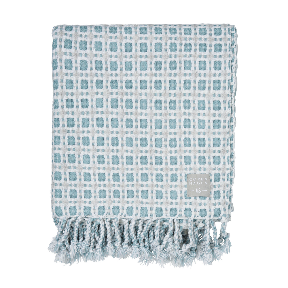 Amalie Woven Throw- Aqua