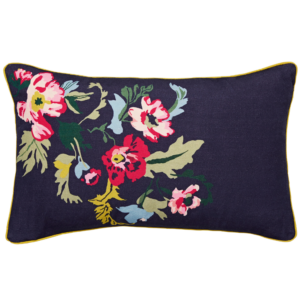 Cambridge Garden Floral Cushion 30cm x 50cm- French Navy