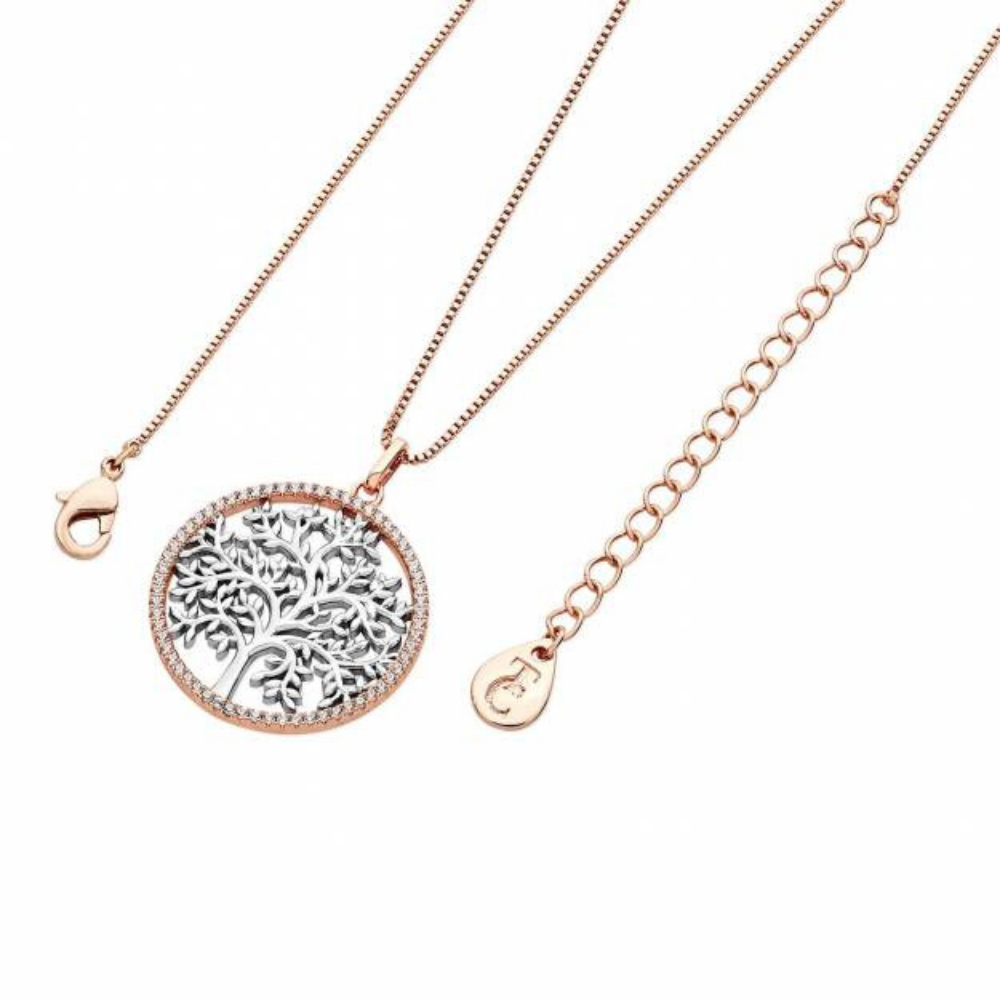 Silver Tol In Rose Gold CZ Circle Pendant