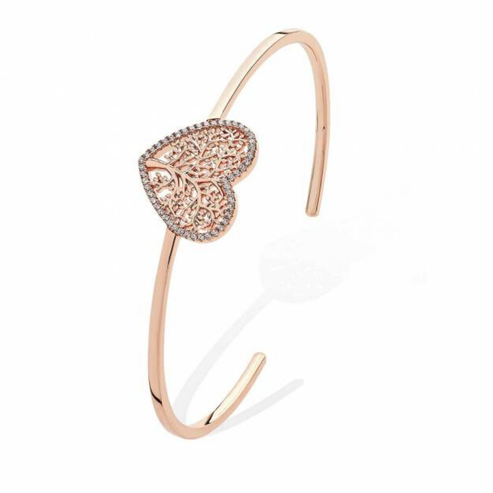 Rose Gold Open Bangle With Tol Heart