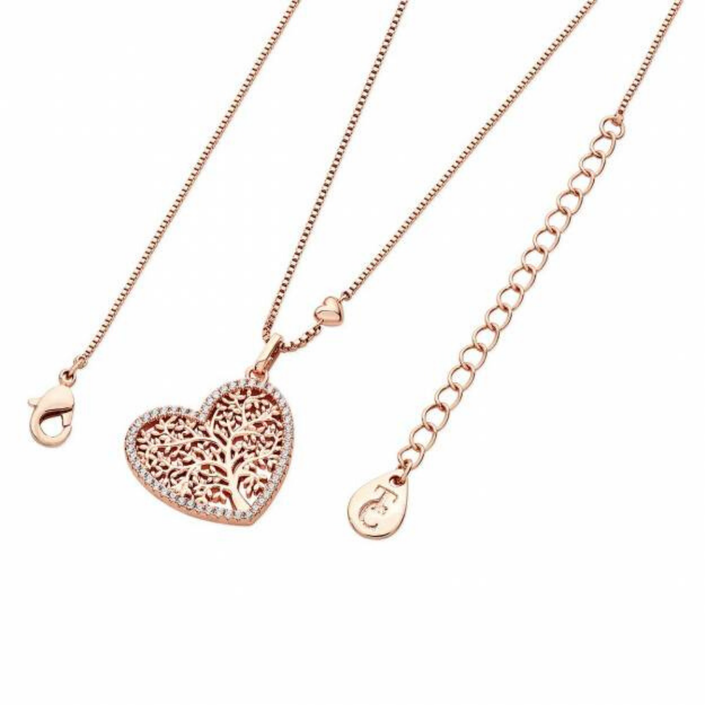 Rose Gold Tol Pave Heart Pendant