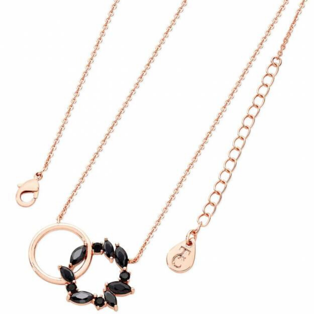 Noir Rose Gold Interlocking Circles Pendant