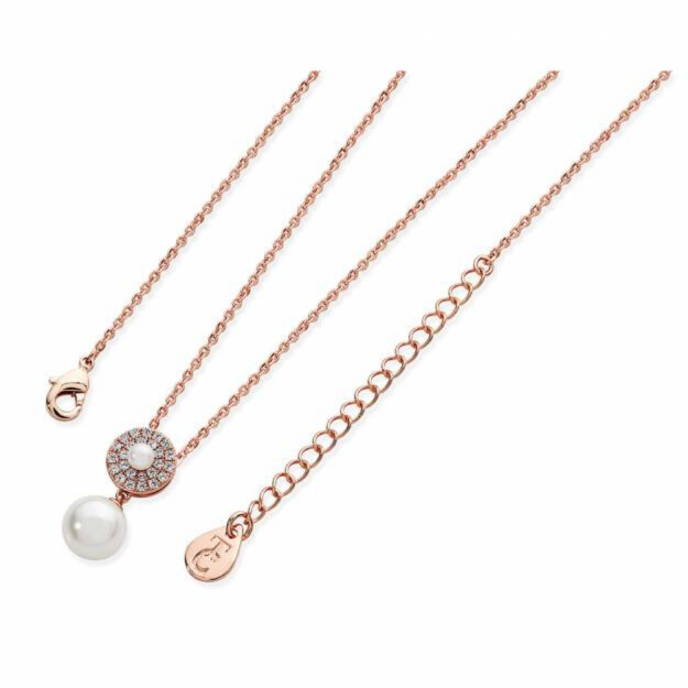 Rose Gold Pave Circle With Drop Pearl Pendant