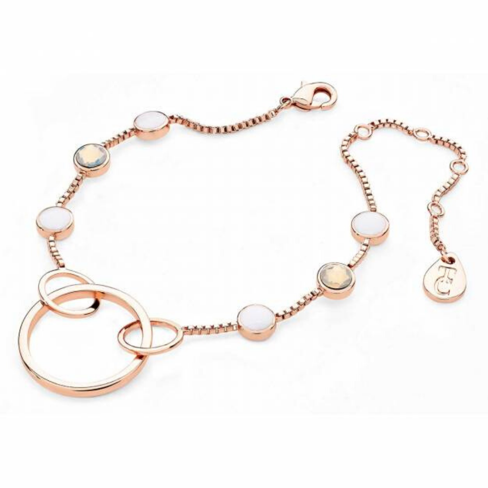 Rose Gold Open Hoop Bracelet With Six Bezel Cut Opal Stones