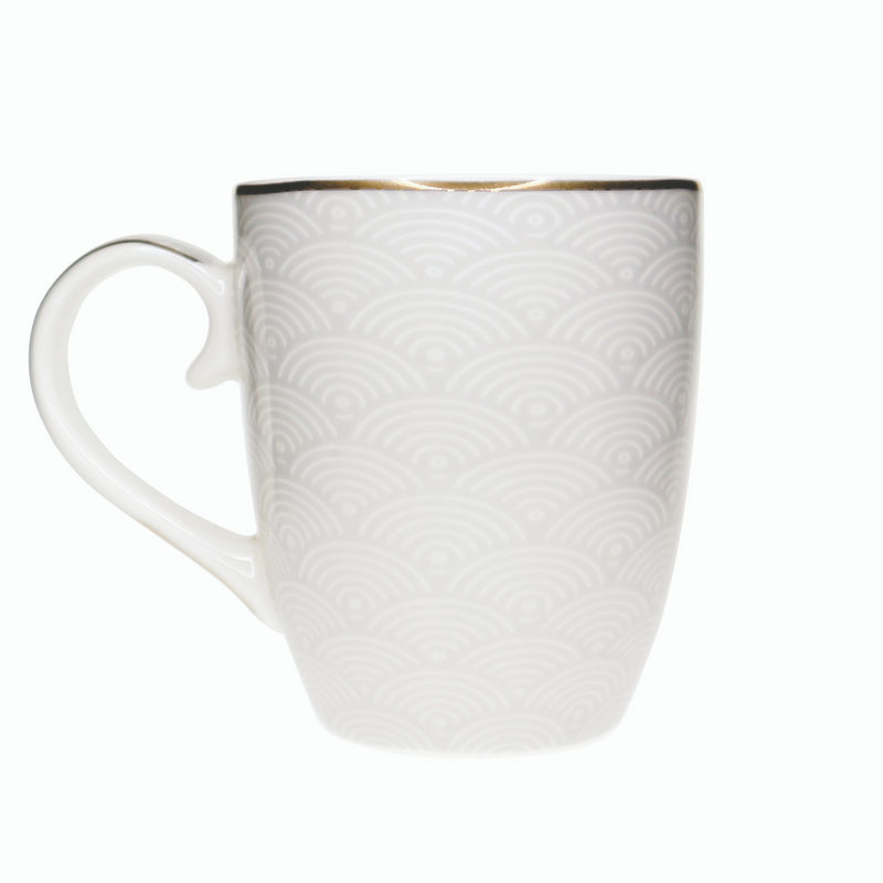 Grey Stripe, Net & Rainbow Mugs Set of 6