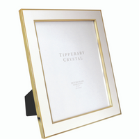 White Enamel Frame with Rose Gold Edging