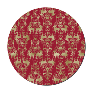 Red And Gold Round Christmas Set Of Six Placemats