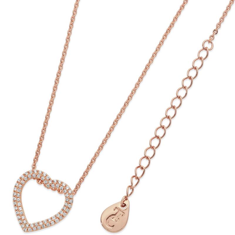 Double Pave Heart Pendant Rose Gold