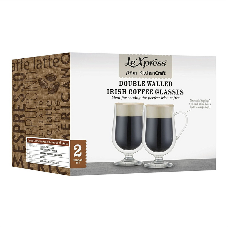 KitchenCraft Le 'Xpress Double Walled Insulated Irish Coffee Glasses, Set of 2
