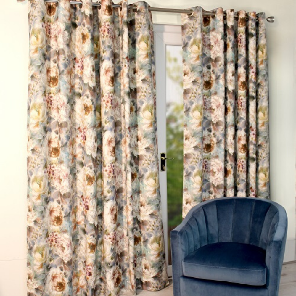 Primavera Eyelet Curtains- Teal