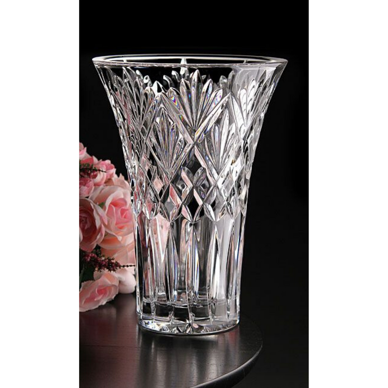 "Cassidy 10"" Wedge Cut Flared Edge Vase"