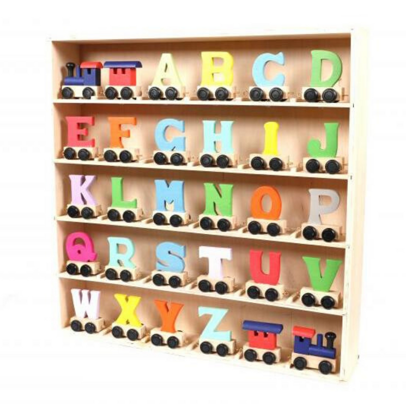 Coloured Wooden Alphabet Train Letters & Tracks