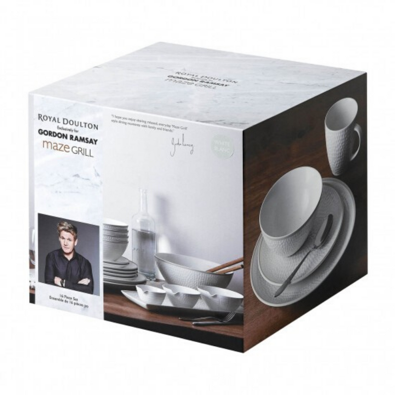 Gordon Ramsay Maze Grill Hammer White 16 Piece Dinner Set