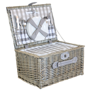 4 PERSON GREY WICKER BASKET