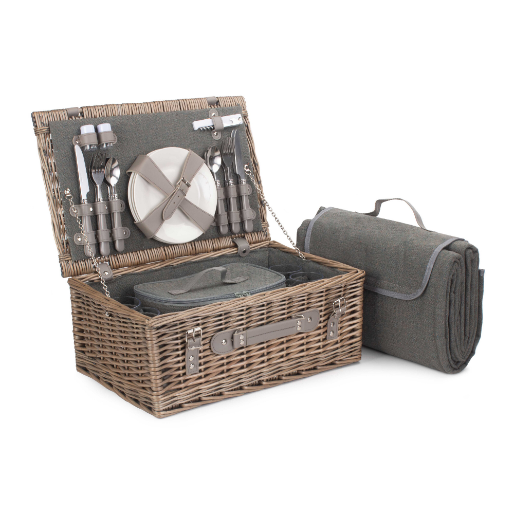 4 person grey tweed picnic basket