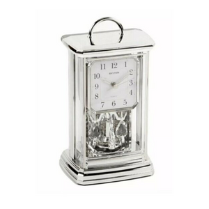 Silver Carriage Clock- Crystals From Swarovski