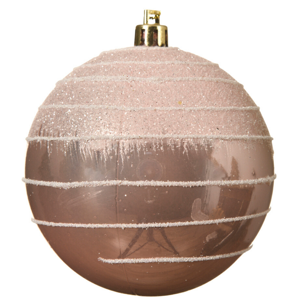 Blush pink christmas tree decoration with glitter