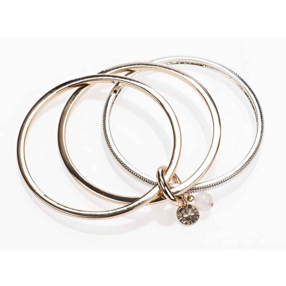 Rose Gold and Silver Rose Bangle