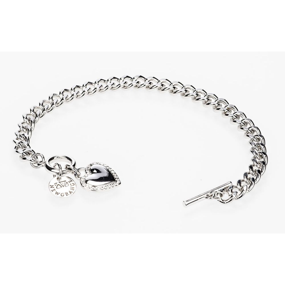 Silver Diamante Heart Toggle Bracelet