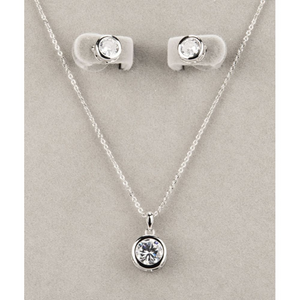 Silver Large White Stone Necklace & Earring Set