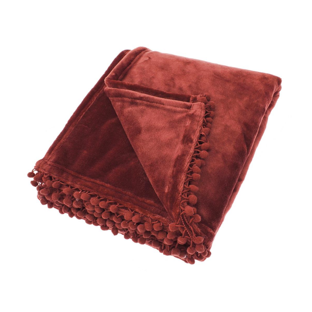 Cashmere Touch Fleece Throw - Chestnut