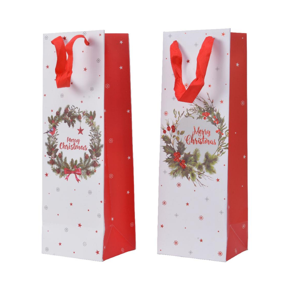 Christmas Gift Bottle Bag, Wreath