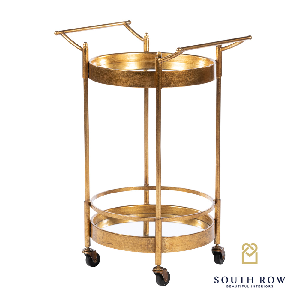 Harriet Drinks Trolley Round Antique Gold