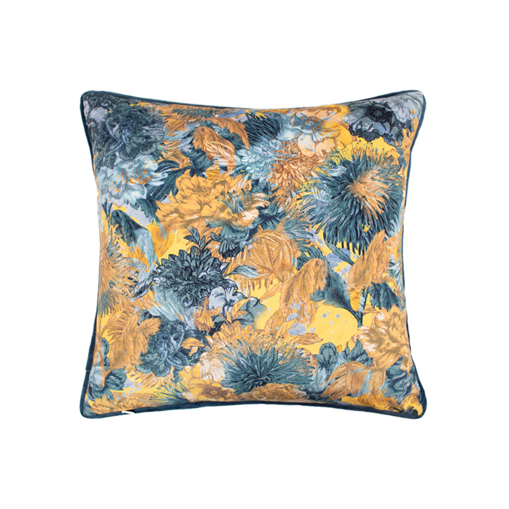 Blue/Ochre cushion