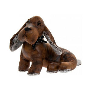 Sitting Faux Leather Dachshund Doorstop