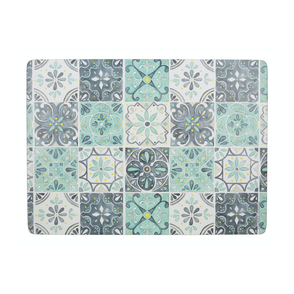 Green Tile Pack Of 4 Large Placemats