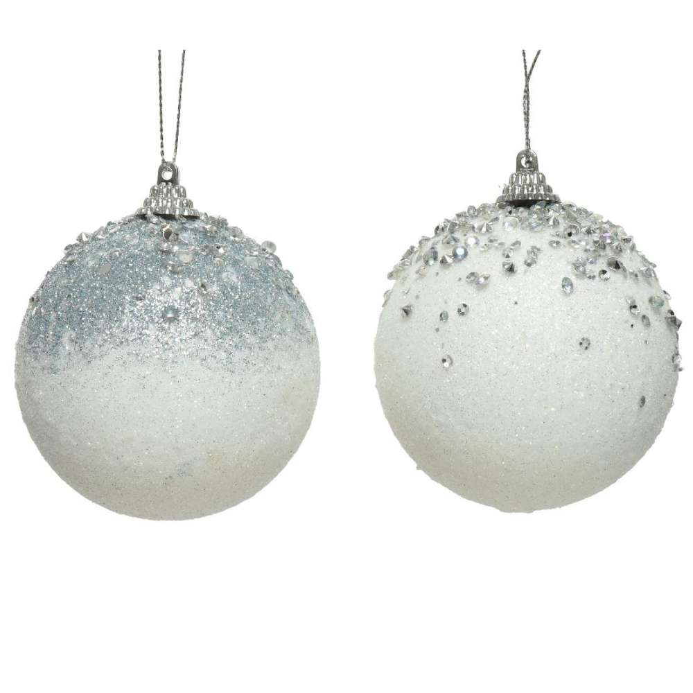 White Beaded Christmas Baubles