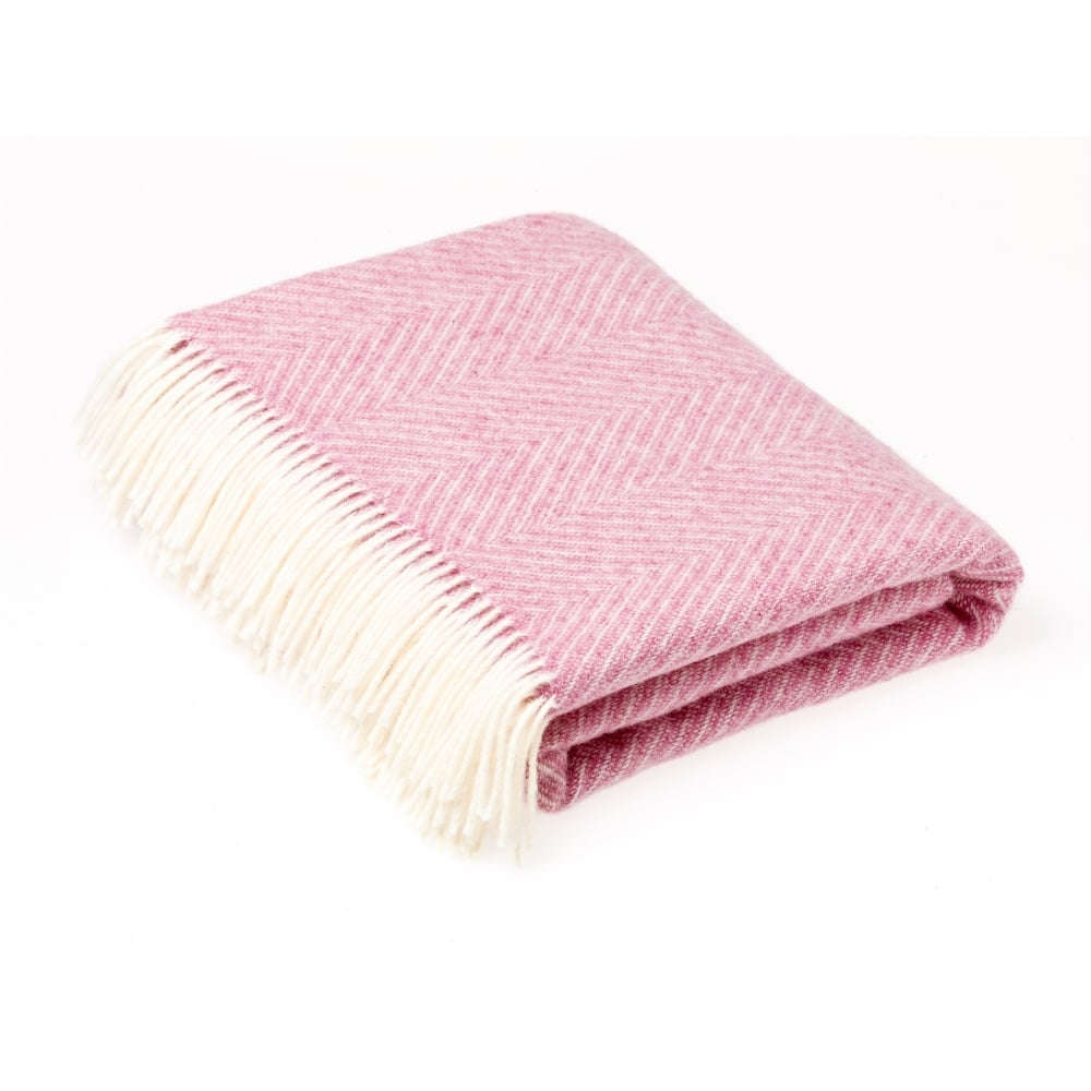 Pink Herringbone throw, bronte by moon