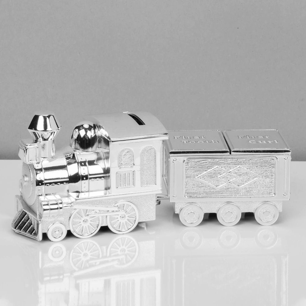 Silver Plated Train Money Box & Tooth/Curl Carriage