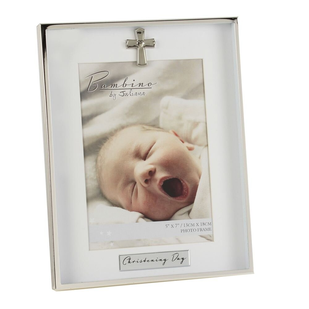 "5"" X 7"" - Bambino Silverplated Photo Frame Christening Day"
