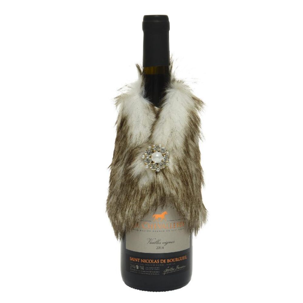 Christmas Fur Wine Bottle Scarf